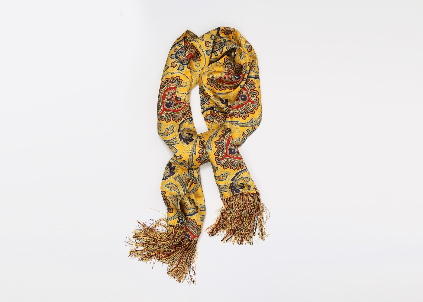 Yellow Paisley Silk Scarf , made in England  nyc