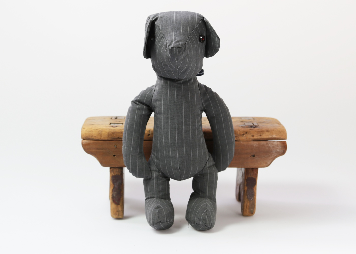 GREY WITH WHITE PIN STRIPES BEAR nyc
