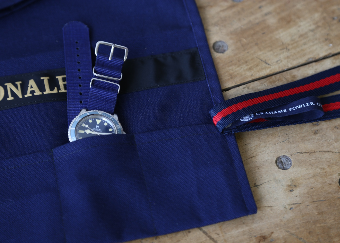 Navy Blue Marine Nationale Watch Roll nyc