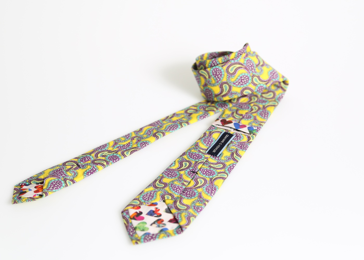 The London Town Tie Yellow Paisley nyc