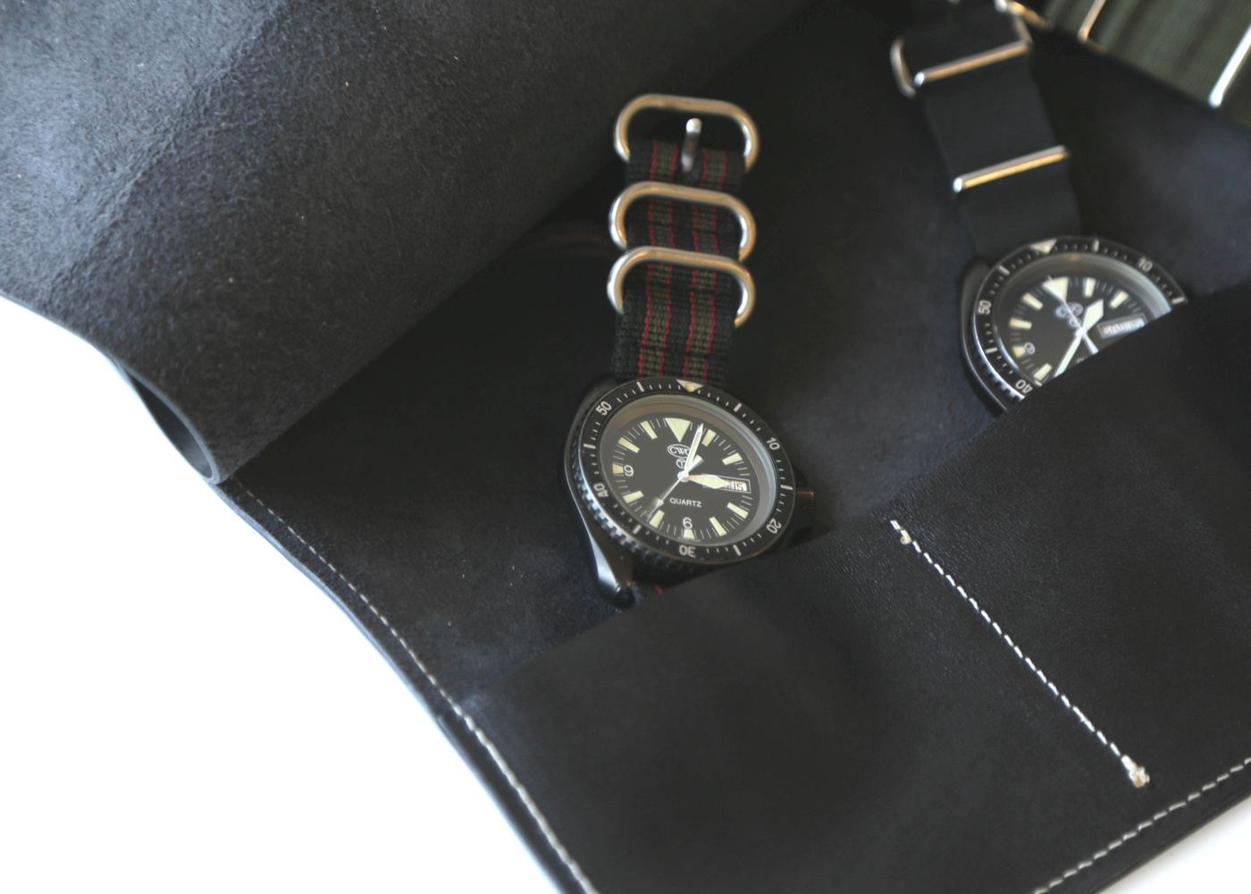 THREE POCKET WATCH ROLL BLACK nyc